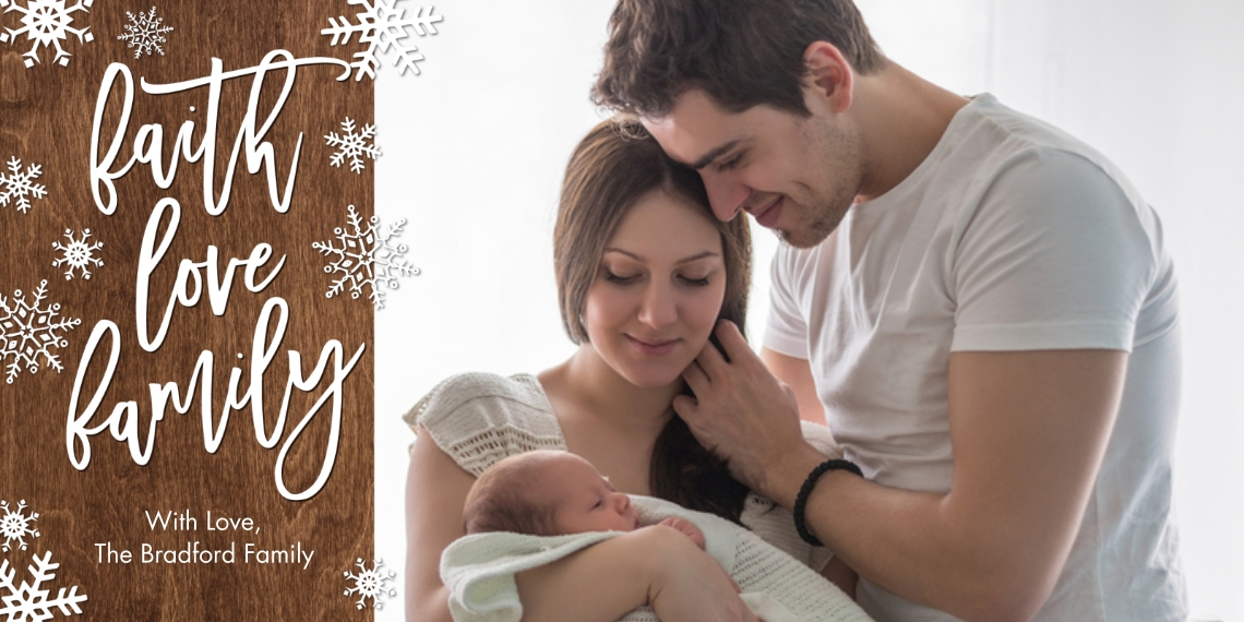 Christmas Photo Cards Flat Matte Photo Paper Cards with Envelopes, 4x8, Card & Stationery -Christmas Faith Love Snowflakes by Tumbalina