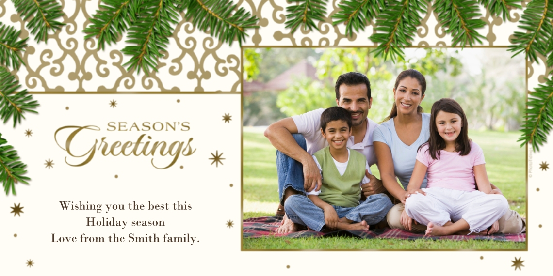 Christmas Photo Cards Flat Matte Photo Paper Cards with Envelopes, 4x8, Card & Stationery -Elegant Season's Greetings