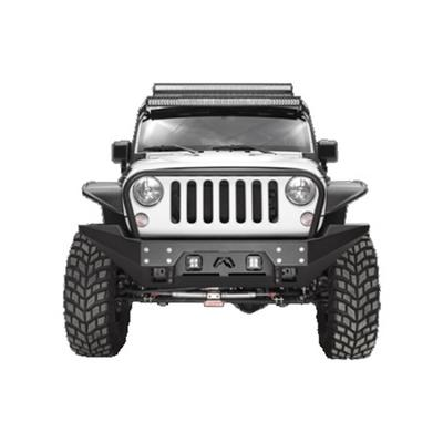Fab Fours Full Metal Jacket Full Width Winch Front Bumper with Grille Guard (Black) - JK07-B1858-1