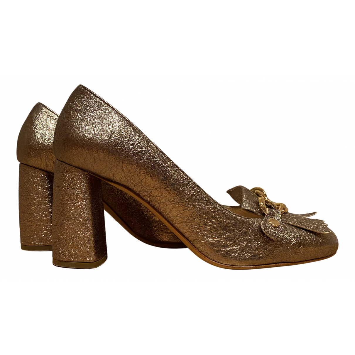 Non Signé / Unsigned \N Gold Leather Heels for Women 38.5 EU