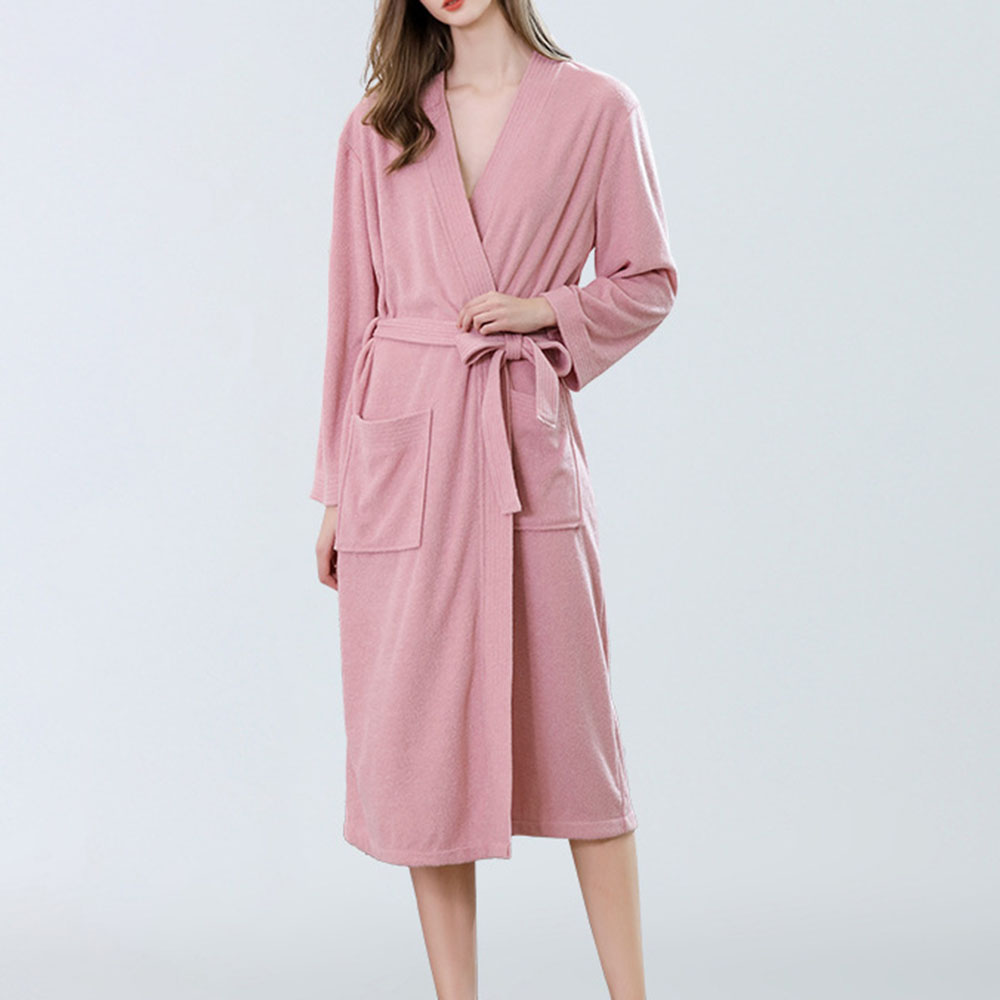 Plain Simple Lace-Up Single Lace-Up Women's Night-Robes Soft Bathrobe