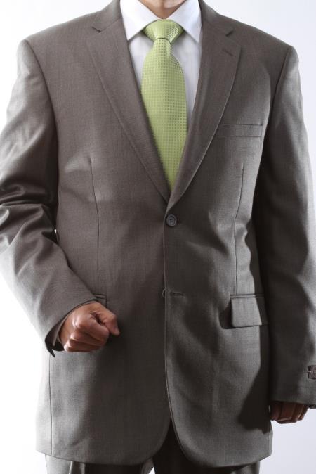 Mens 2 Button Taupe Tonal Dress Suit Flat Front