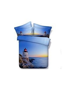 3D Lighthouse Sea Scenery Printed Blue 5-Piece Queen Size Tencel Cotton Comforter Sets