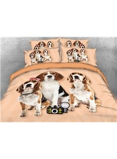 Beagle Puppies Printed 4-Piece 3D Bedding Sets/Duvet Covers
