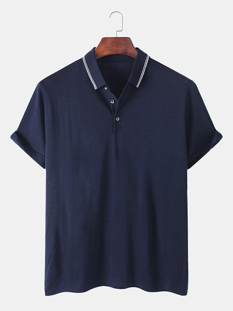 Mens Solid Casual Business Lapel Collar Golf Shirt