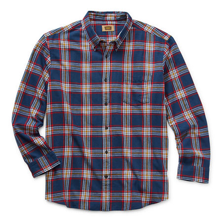 The Foundry Big & Tall Supply Co. Big and Tall Mens Long Sleeve Flannel Shirt, 4x-large , Blue