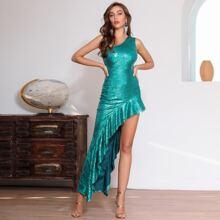 DKRX One Shoulder Asymmetrical Ruffle Hem Sequin Dress
