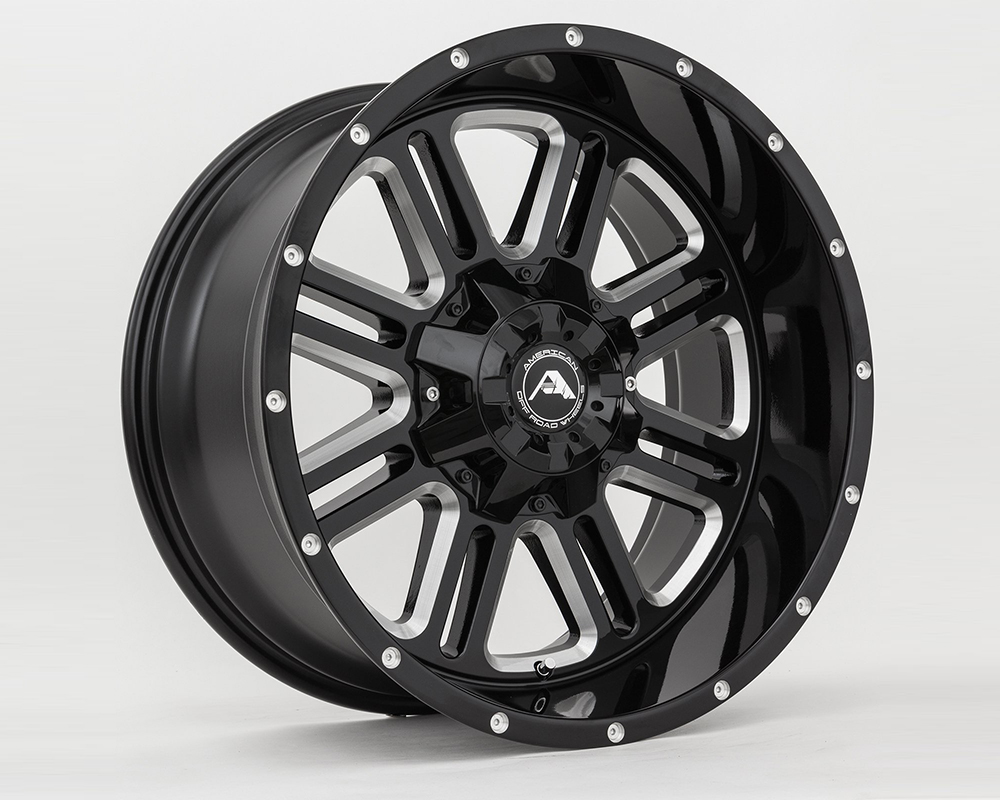 American Off-Road A10620A0627-24BMI A106 Black Milled Wheel 20x10 6x5(6x127) -24mm
