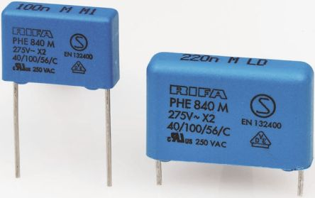 KEMET 2.2μF Polypropylene Capacitor PP 275V ac ±20% Tolerance Through Hole PHE840 Series (10)