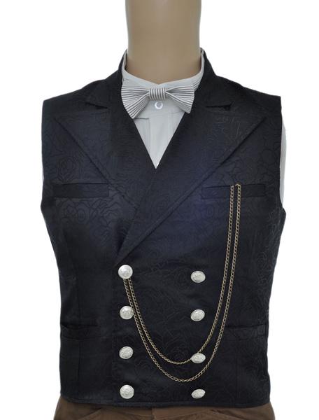Milanoo Vintage Steampunk Waistcoat Black Men's Double Breasted Pocket Watch Chain Back Strap Jacquard Retro Suit Vest Halloween