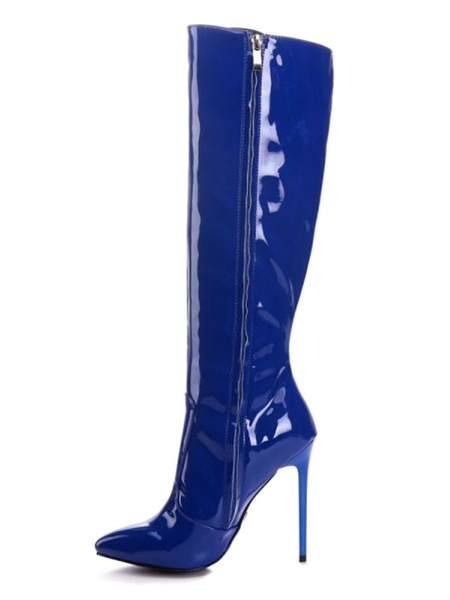 Milanoo Knee High Boots Womens Blue Patent PU Pointed Toe Stiletto Heel Daily Casual Winter Boots