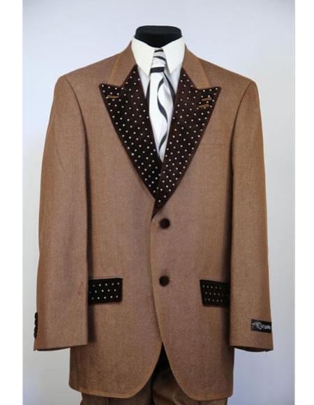 Mens shinestone peak lapel denim 2pc rust zoot suit