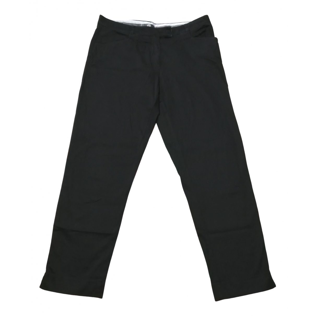 Sergio Tacchini \N Black Cotton Trousers for Women 46 IT
