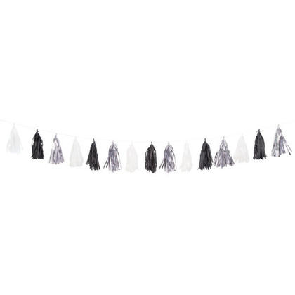 Party Tissue Tassel Garland Paper Decorations 9 ft - Silver, Black and White