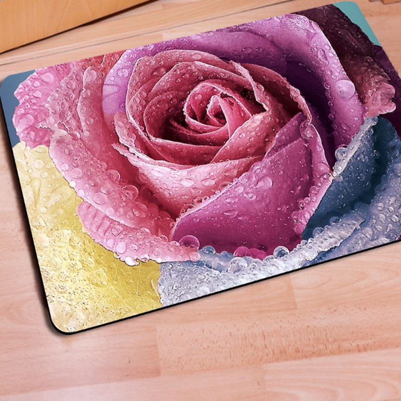 Gorgeous Rectangle Pink Roses Print Home Decorative Non Slip Doormat