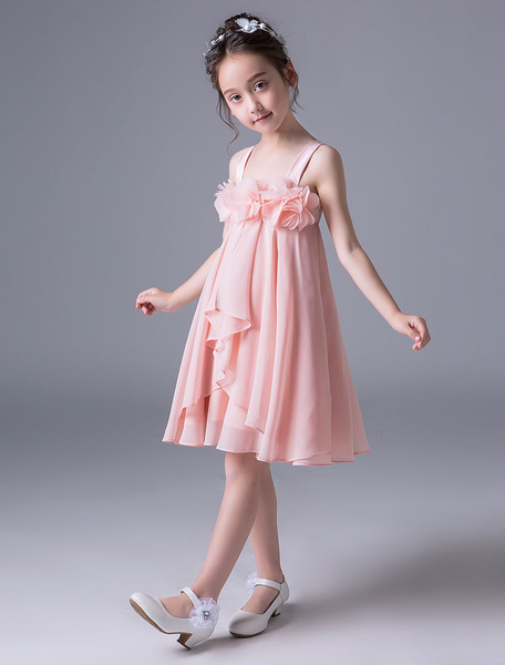 Milanoo Pink Flower Girl Dresses Chiffon A Line Wide Strap Knee Length Short Kids Party Dresses