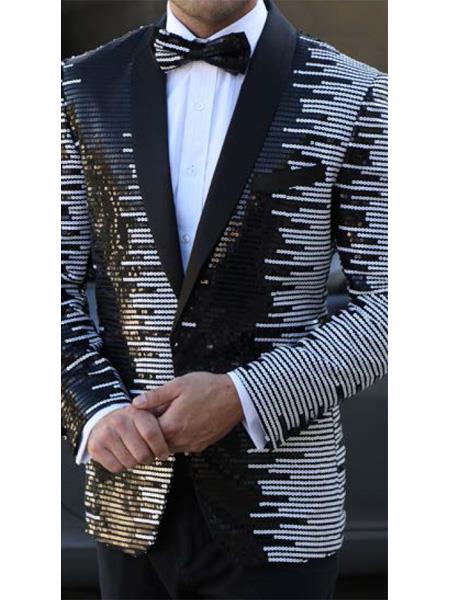 Mens Striped Designed Black Shawl Lapel White~Black tuxedo jacket