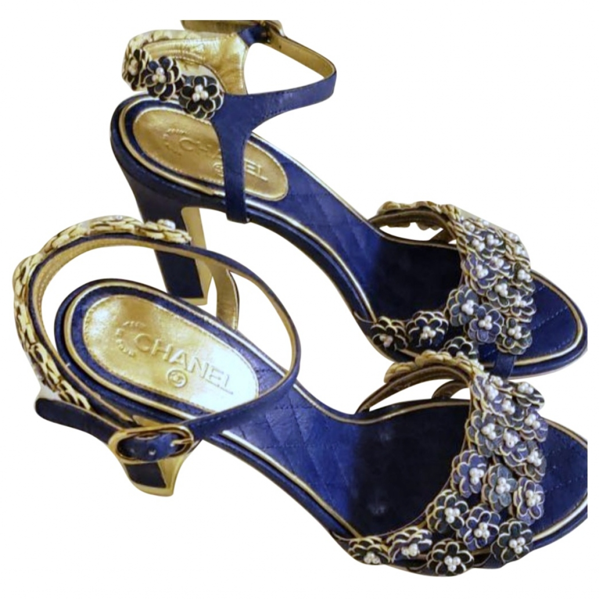 Chanel \N Blue Leather Sandals for Women 36.5 EU