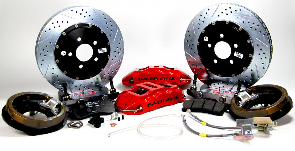 Baer Brakes Brake System 14 Inch Rear Extreme+ w/Park Brake Red 05-13 GM Pickup W/Rear Drum Brakes
