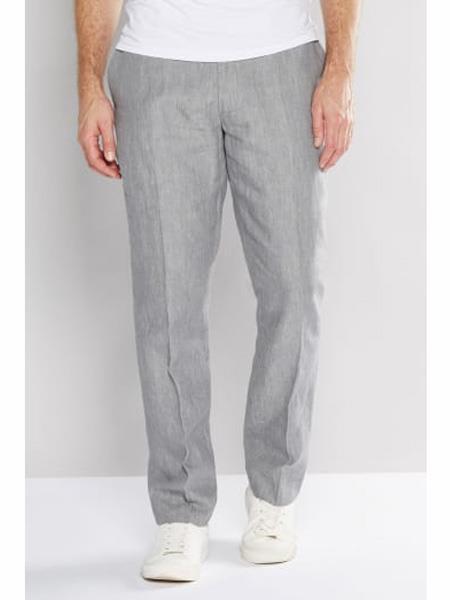 Mens Regular Fit Flat Front Linen Pant Grey