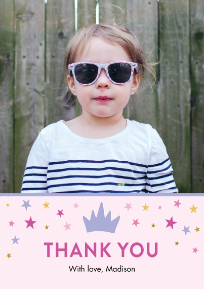 Kids Thank You Cards Flat Matte Photo Paper Cards with Envelopes, 5x7, Card & Stationery -Thank You Set Princess Tiny Stars