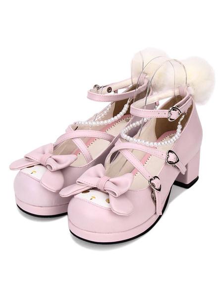 Milanoo Sweet Lolita Pump Animal Design Pom Pom Bow Strappy Pearl PU Pink Lolita Shoes