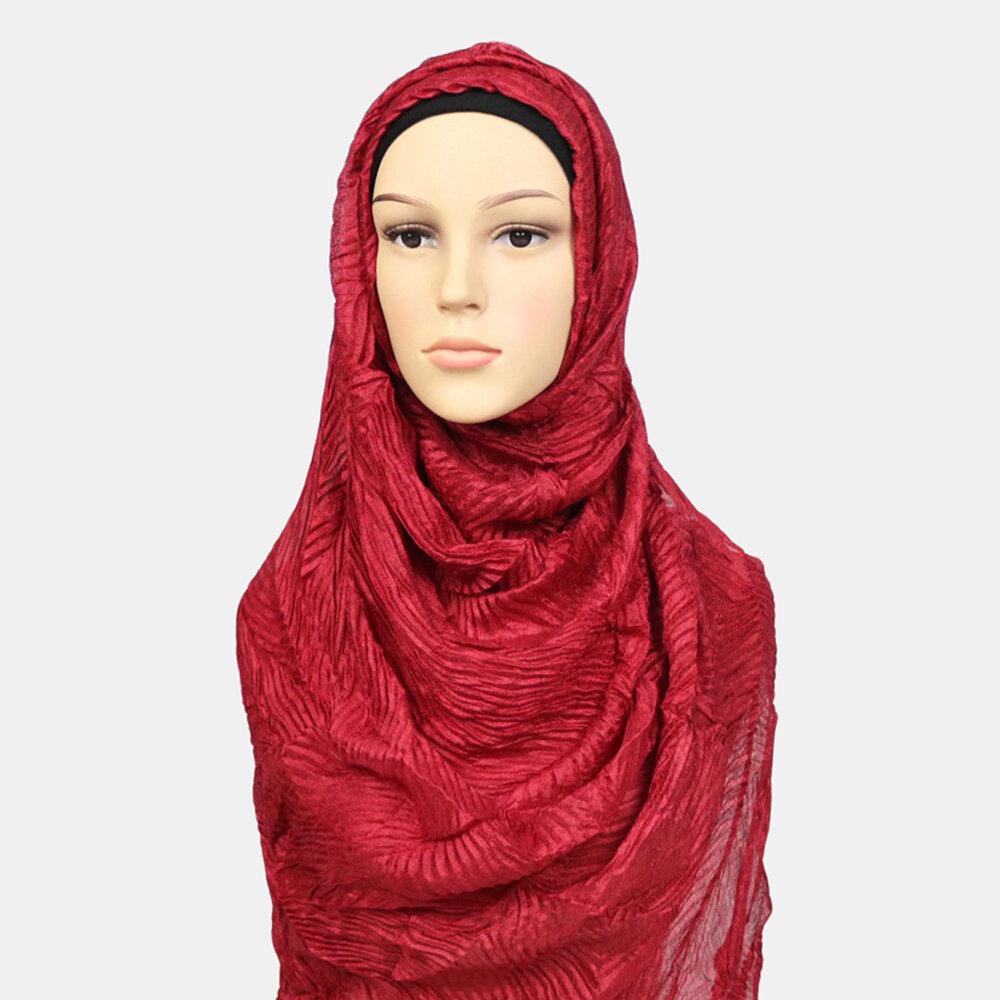 Women Polyester Solid Color Silk Muslim Ethnic Turban Hijab