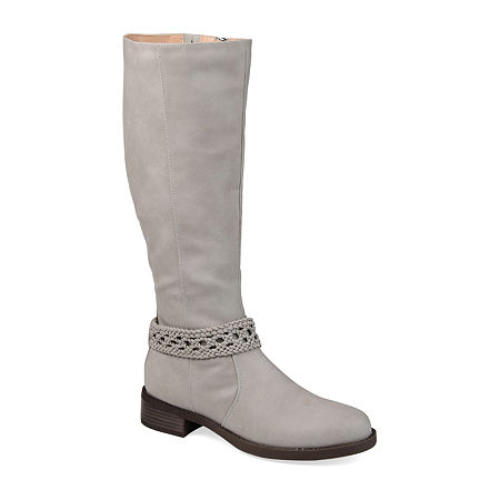 Journee Collection Womens Paisley Stacked Heel Riding Boots, 7 1/2 Medium, Gray