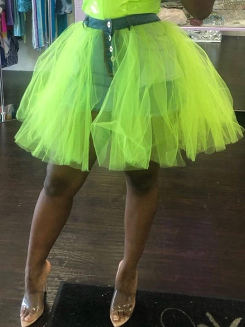 Ericdress Patchwork Ball Gown Color Block Skirt