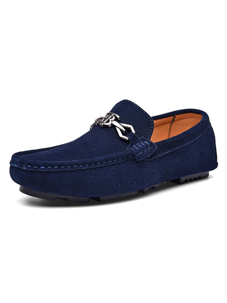 Milanoo Mens Blue Loafers Shoes Round Toe Metal Detail Slip On Driving Shoes