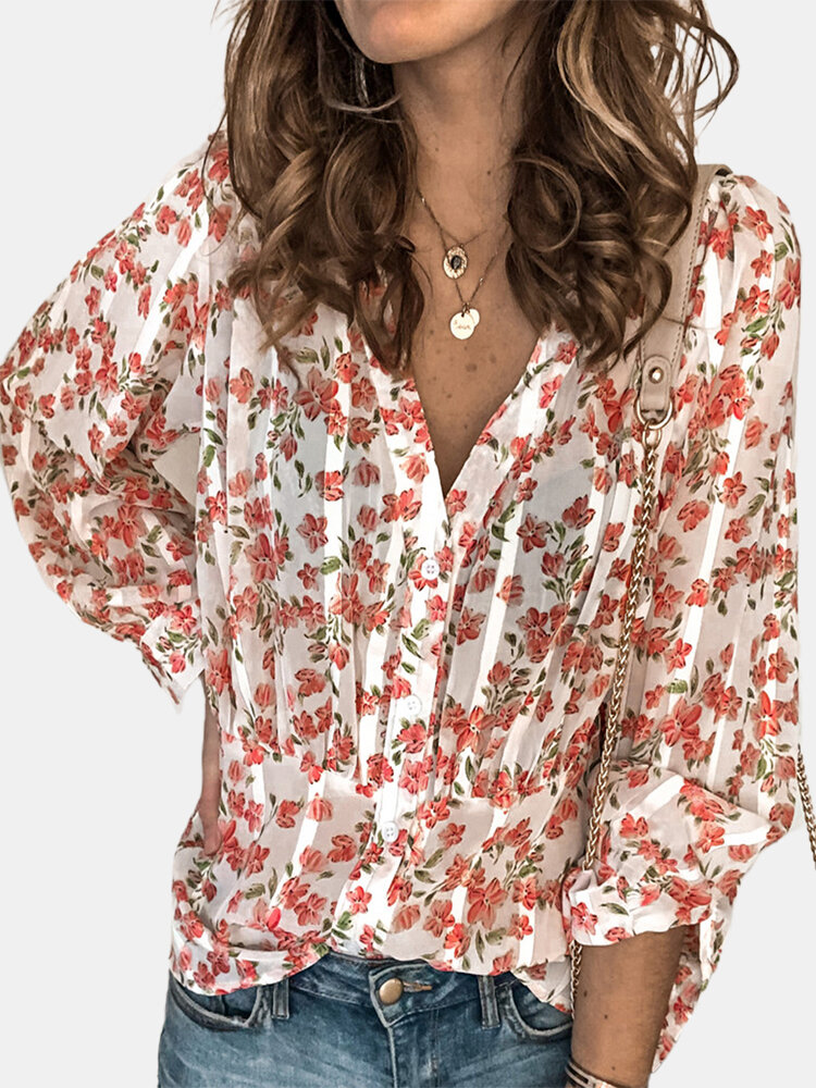 Pleated Floral Print Long Sleeve Casual Blouse For Women