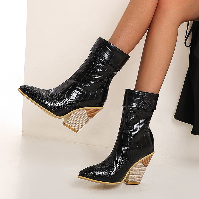 Ericdress Plain Pointed Toe Chunky Heel OL Boots
