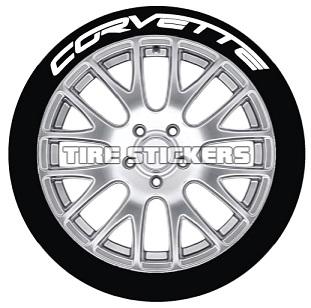 Tire Stickers CORVTT-1718-1-4-Y Permanent Raised Rubber Lettering 'Corvette' Logo - 4 of each -  17