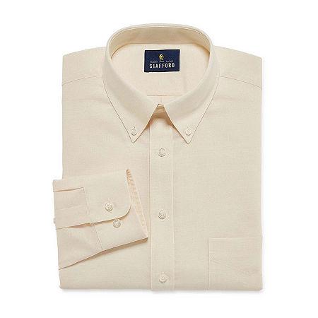 Stafford Mens Wrinkle Free Oxford Button Down Collar Regular Fit Dress Shirt, 17 36-37, Beige