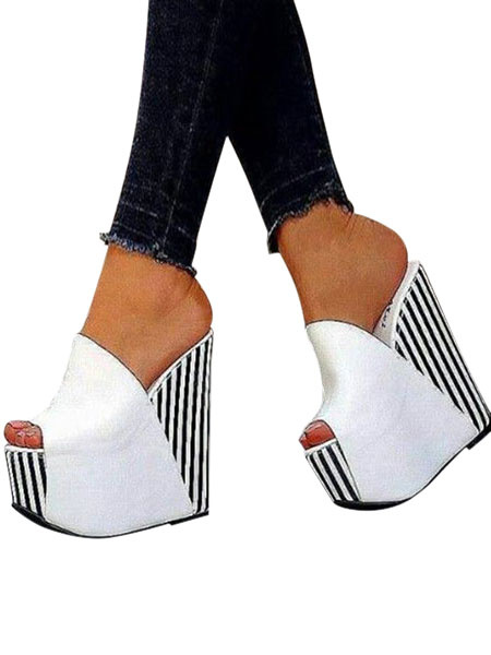 Milanoo White Sexy Shoes Women Peep Toe Platform Striped Wedge Sandals Plus Size Shoes