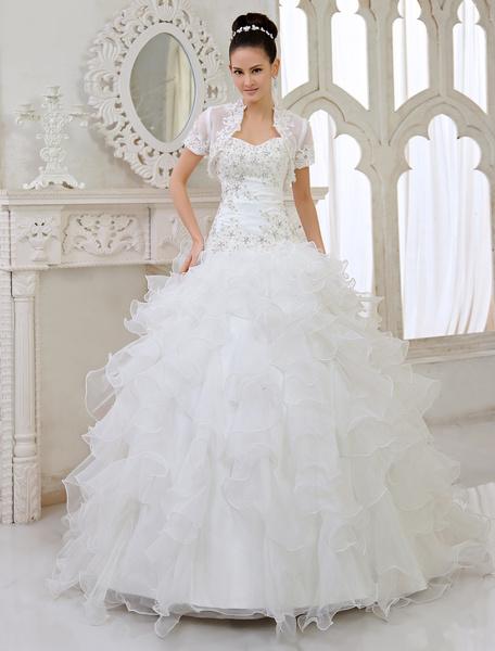 Milanoo Ivory Ball Gown Strapless Sweetheart Neck Applique Floor-Length Wedding Dress For Bride