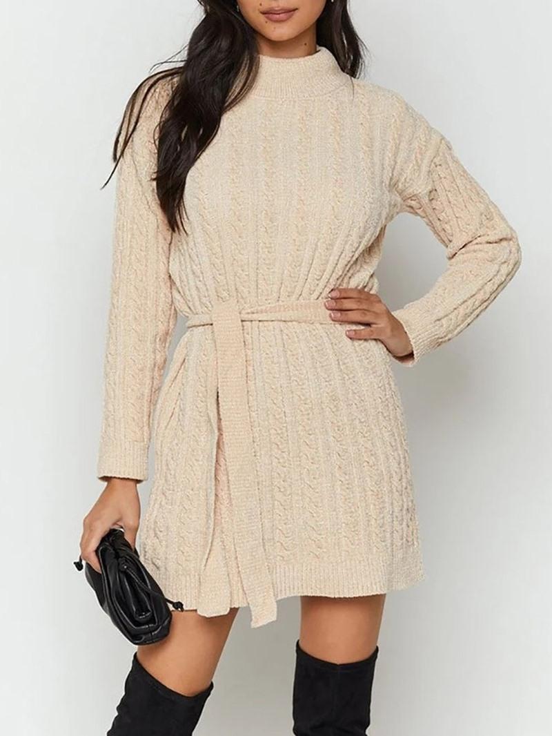 Ericdress Lace-Up Stand Collar Long Sleeve Regular Casual Dress