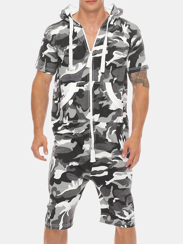 Mens Casual Jumpsuit Camo Zipper Up Hooded Front Pockets Breathable Jogger Lounge Set