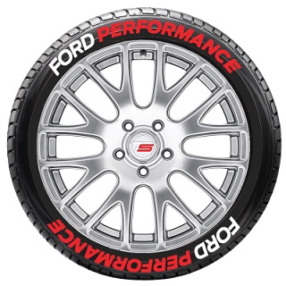 Tire Stickers FRDPERF-1416-125-4-W Permanent Raised Rubber Lettering 'Ford Performance' Logo - 8 of each -   14