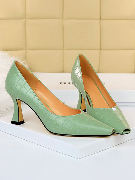 Milanoo High Heels Yellow Chic Square Toe Goblet Heel Comfortable Shoes