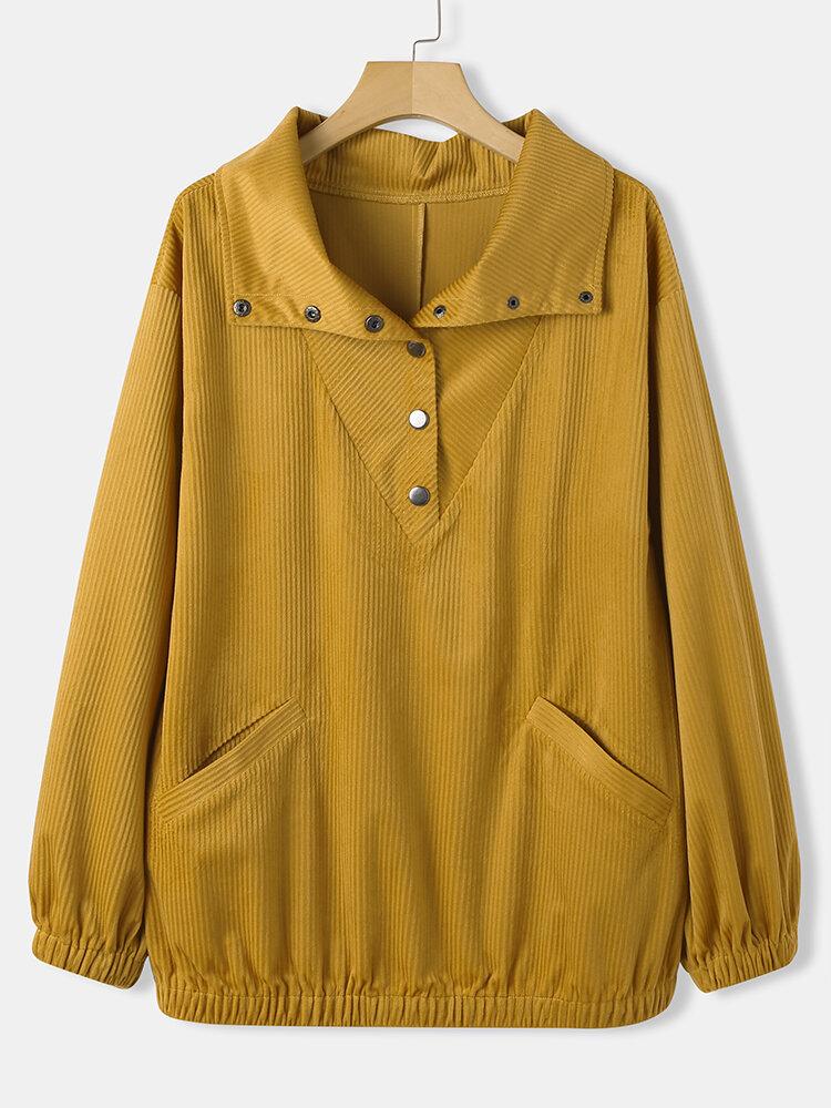 Solid Color Long Sleeve Lapel Collar Button Corduroy Sweatshirt For Women