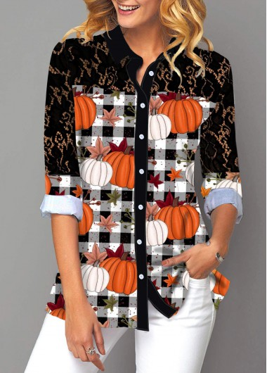 Halloween Women'S Black Pumpkin And Plaid Print Tunic Top Button Up Lace Panel Long Sleeve Turndown Collar Casual Blouse By Rosewe - XL
