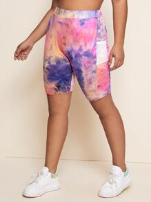 Plus Fishnet Mesh Pocket Side Tie Dye Biker Shorts