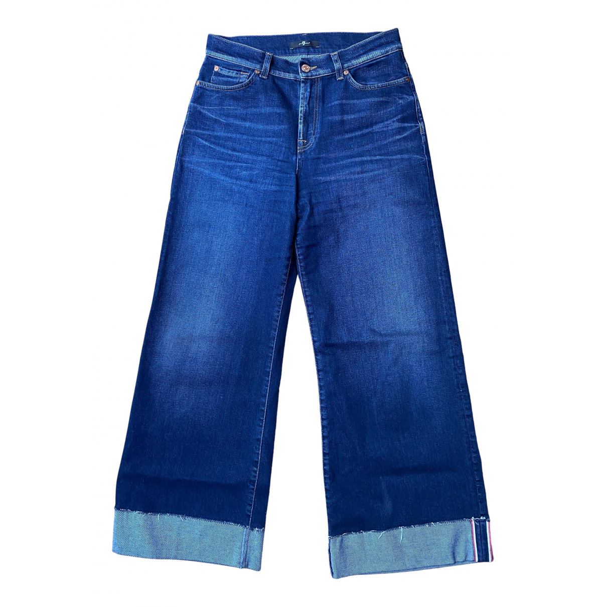 7 For All Mankind \N Blue Cotton - elasthane Jeans for Women 28 US