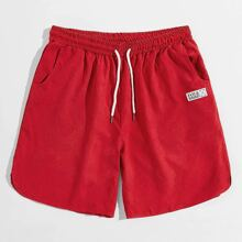 Men Letter Patched Drawstring Waist Shorts