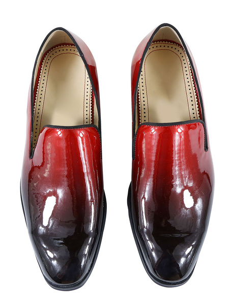 Milanoo Mens Patent Loafers Round Toe Flat Shoes In Burgundy