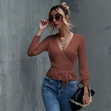 Surplice Neck Tie Front Solid Sweater