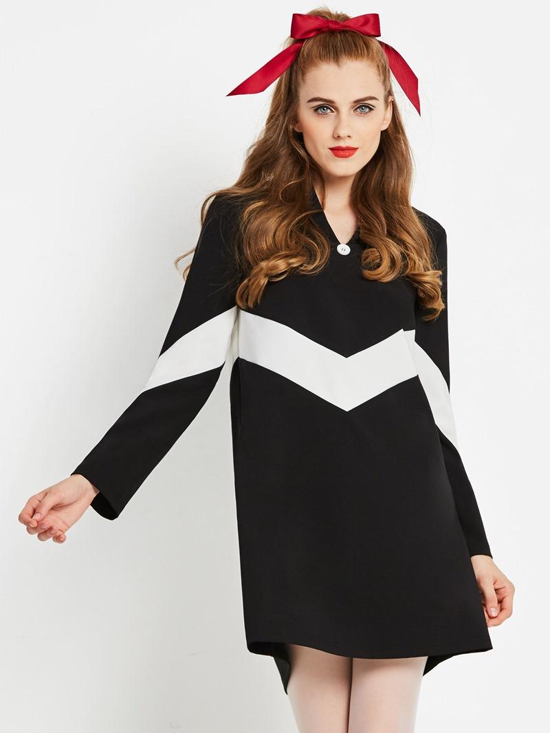 Ericdress Long Sleeve Knee-Length Color Block A Line Casual Dress