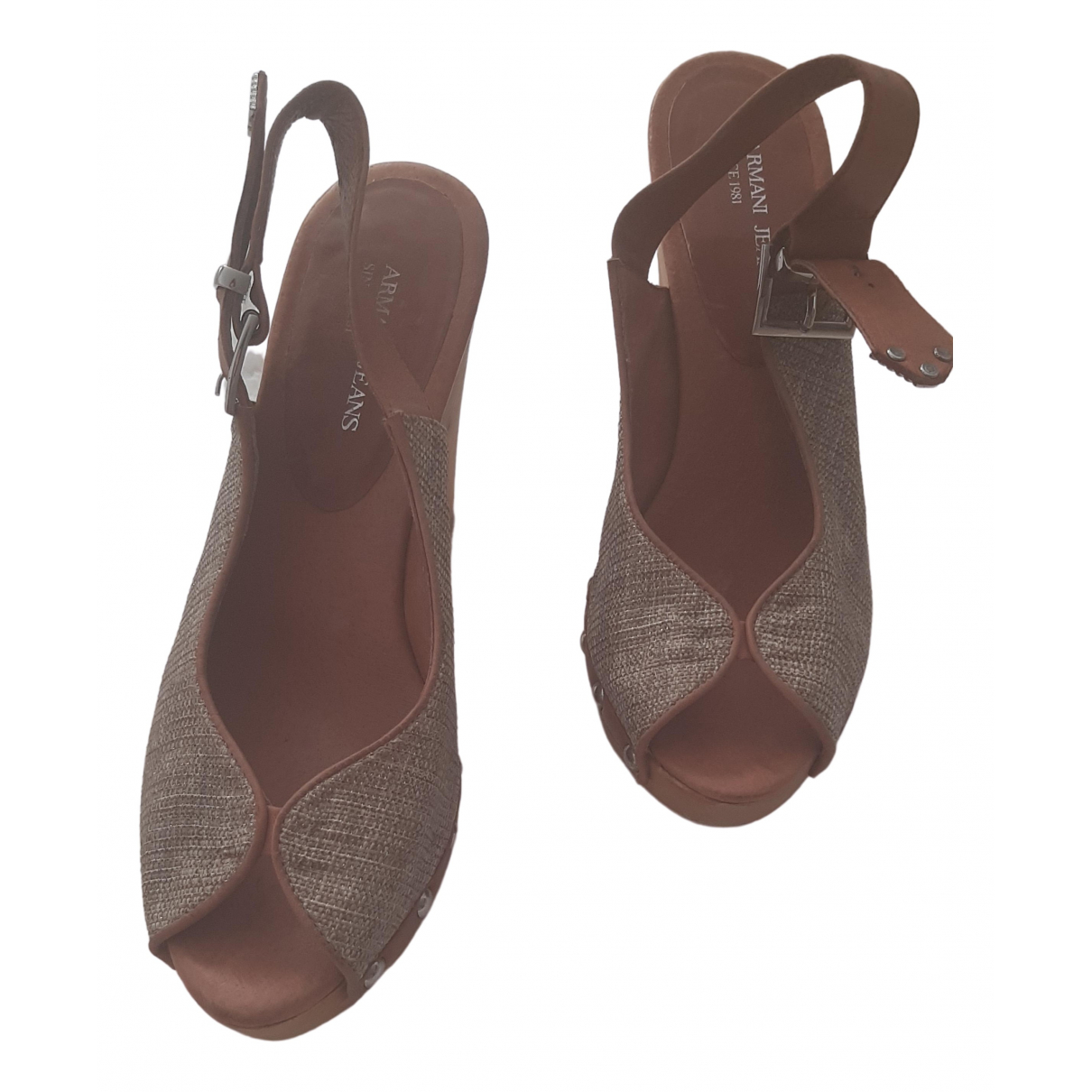 Armani Jeans \N Camel Leather Sandals for Women 38 EU