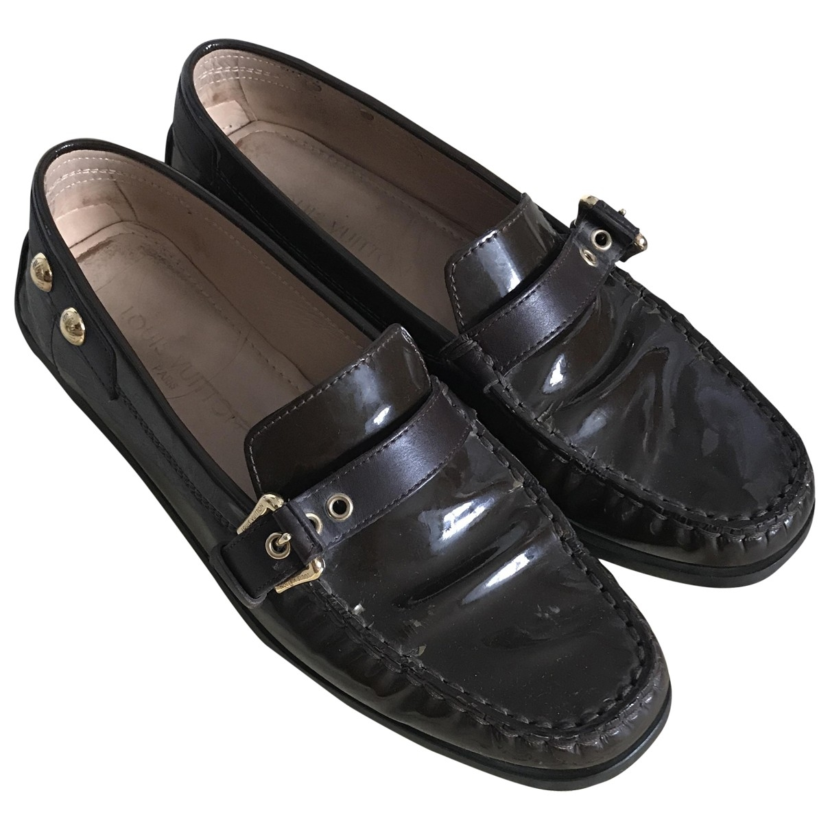 Louis Vuitton \N Brown Patent leather Flats for Women 37 EU